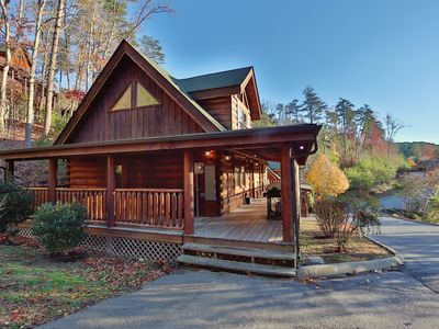 Photo for Heavenly, Country Porch, Bedside Jacuzzi, Private Hot Tub, Stone Fireplace