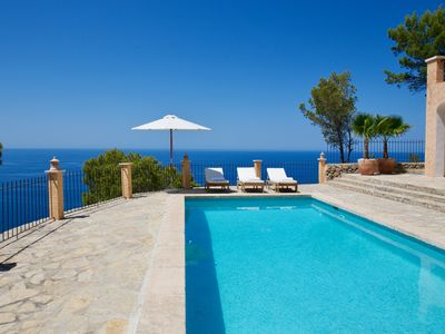 Photo for Luxury villa in Serra de Tramuntana with full sea view and heated saltwater pool