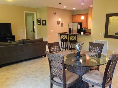 Open concept living area comfortably furnished.