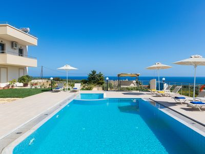 Photo for Villa Diamantis! Amazing sea views, private pool 40m2,  1km to the beach & shops