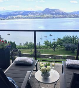 The Nest patio area with amazing lake view.