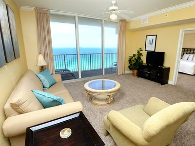 Photo for Cozy, spacious gulf-front condor! 2 lagoon pools + movie center on-site! Free beach service!