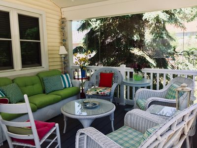comfy front porch for reading relaxing, board games, beverages and snacks.