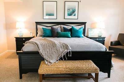 Large master bedroom w/ king sized bed is very comfortable and cozy.