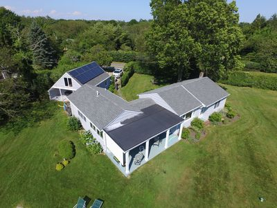 Drone shot of house.