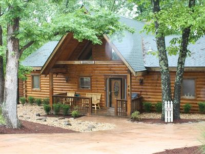 Photo for 'Dogwood' Log Home-Expansive wooded deck, fireplace, full ammenities!