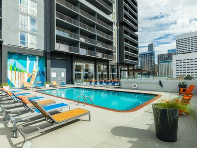 Photo for High-rise, downtown studio w/ shared pool, fitness room, basketball