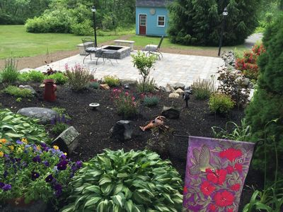Front Garden, patio with fire pit