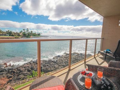 Photo for Kuhio Shores 208: Oceanfront AC Condo, Sea Turtle Views