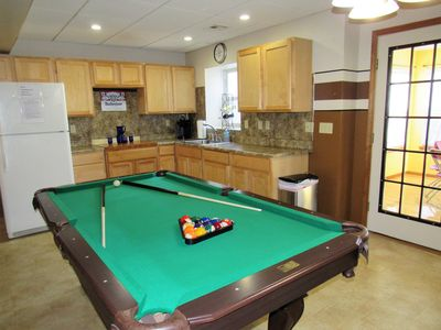 Game room-lower level with a pool table, ping pong, Foosball, kitchenette