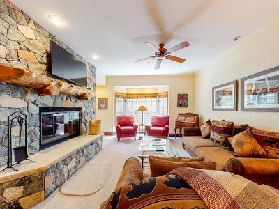 Photo for 2nd floor mountain condo w/ wood-burning fireplace, shared hot tub and pool!