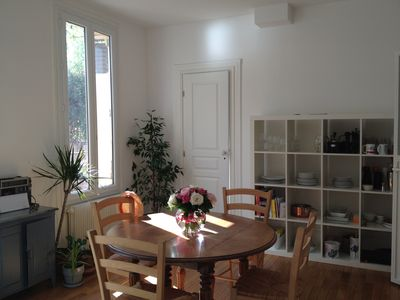 Photo for Large sunny terrace, 90m2, 2mn metro, 20mn heart of Paris
