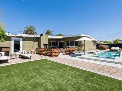 Photo for Luxe Mid-Century Home in Old Town w/ Outdoor Fireplace, Heated Pool & Hot Tub