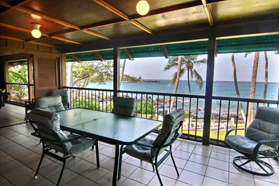 Outdoor Ocean View Lanai...enjoy morning coffee, meals and evening drinks
