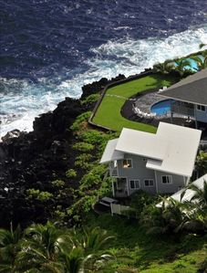 Aerial view of the house, 360 degree view of the ocean.