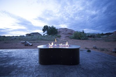 Sunset with new gas firepit