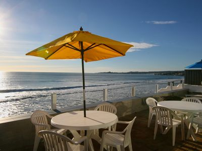 Beachfront Patio w/ Fire pit and Gas BBQ (tides permitting)..