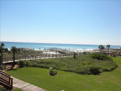Just a few steps down from our balcony to the beach, or pool.