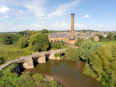 River Teme with Powick mill and the house in background.