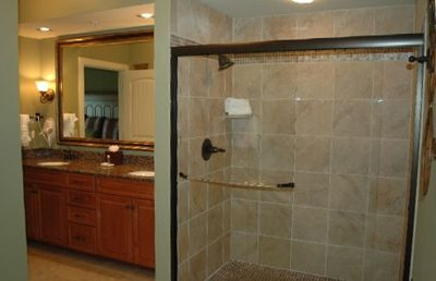 bathroom to the master bedroom, large glass walk-in shower Jacuzzi