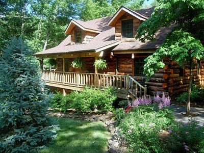 Photo for Real Log Cabin - Engleman Spruce - the Refuge at Tall Pines - 40 acres Secluded Pool table & Pingpong & Foos Tables Game Room