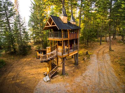 Birds eye view of treehouse in October.