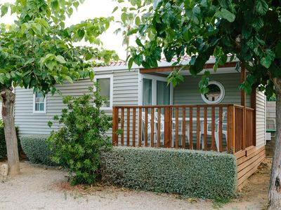 Photo for Camping in Cambrils mobilhome of 4 Pers 2 bedrooms with garden and pool.