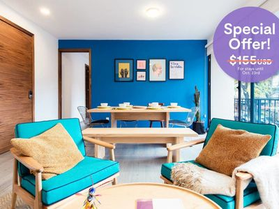 Photo for Colorful and Artsy 3BR 2BA Apt in Roma Norte