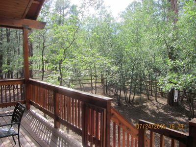 Back Balcony   Overlooking  Fenced  Play Area  for Kids  and  Pups