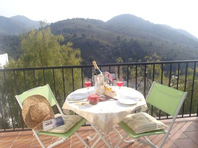 Living Room Terrace Overlooks the Higueron Valley and has views down to the Sea