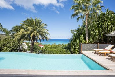 Infinity Edge Swimming Pool, Wooden Deck and Lounging areas, 2 Gazebos,  Free Wifi - St. Barthelemy