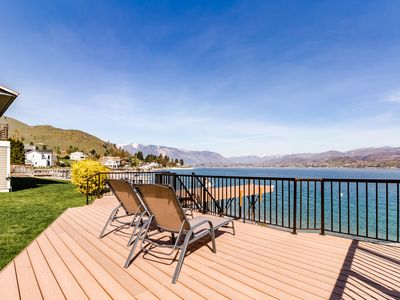 Photo for Newly remodeled lakefront home w/ incredible views, dock, sundeck!