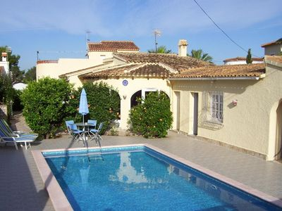 Photo for Detached villa, private pool and gardens 500 metres to beach 2 kms to village