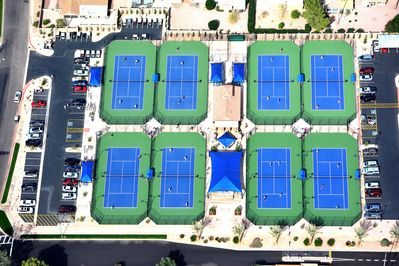 New tennis courts 2014.  A fun place to hang out and meet people.