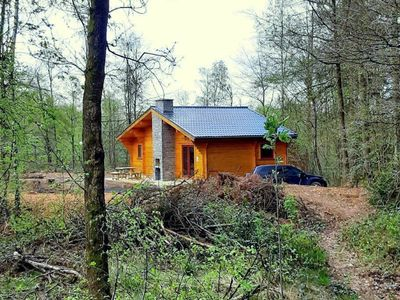 Photo for Modern, wooden chalet with wood burning stove, in the forest