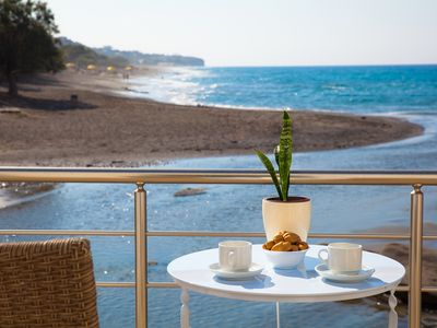 Photo for By the sea apartments, literally on Agios Andreas beach in Ierapetra, Crete, No1