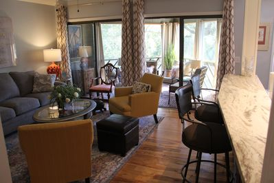 New paint, furniture, lighting, art, and draperies makes our villa shine