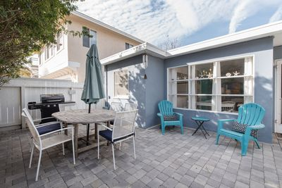 Front Patio with outdoor dining and BBQ