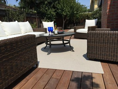 Enjoy the California Sun on spacious private rear deck w/3 sitting areas and BBQ