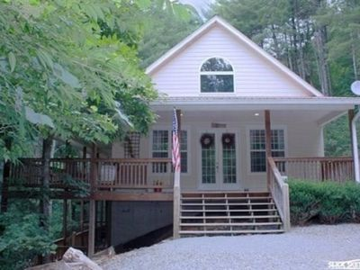 Photo for Creek front, campfire pit, hot tub, pool table, wifi internet, sleeps 8