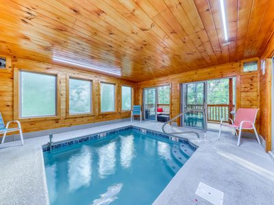 Photo for Mountain view cabin w/ private indoor pool, hot tub, game room & decks!