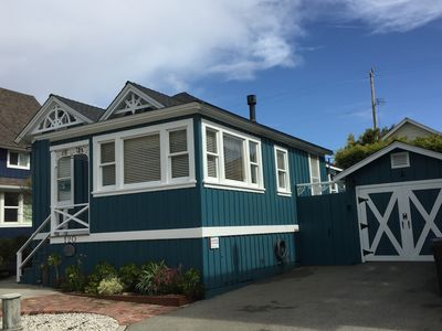 """120 Vicky by-the-Sea offers 2-cars off-street free parking.  """"Park and Stay."""" Walk everywhere: beach, grocery, restaurants, wharf, yacht harbor. """"One of the sunniest beaches has fire-rings, restrooms, shower, and seasonal snack shack for ice creams & hot dogs."""""""