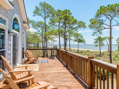 Photo for Gulf-view home with spacious deck and new hot tub- short walk to the beach!