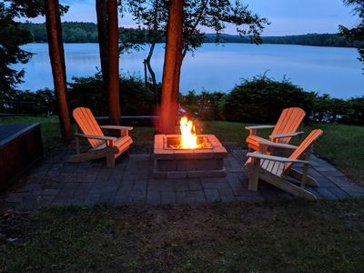 Fire Pit with 5 new Adirondack chairs