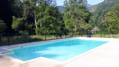 Here's our new 12m pool set in 1 hectare of parkland, with great mountain views