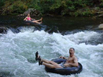 Photo for Fifty acres bordering Pisgah National Forest. Hot Tub. No close neighbors.