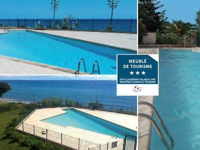 Photo for STUDIO air conditioning, elevator, terrace sea / beach & pool, park, parking