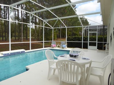 Pool area without child safety fence.