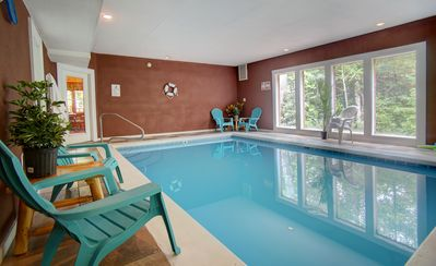 Photo for LARGE SECLUDED CABIN WITH HEATED INDOOR SWIMMING POOL, FIRE PIT AND THEATER