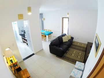 New apartment with gourmet balcony, 2 vacancies, Wi-Fi 10MB and Smart TV, 200m from the beach